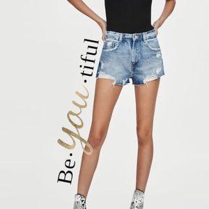 Zara distressed hi rise hot pants jean shorts